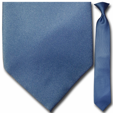 Men's Solid Steel Blue Clip-On Tie