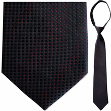 "Mens Woven Black & Red Square Pattern 21"" Zipper Tie"