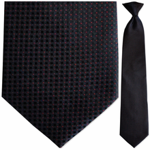 Mens Woven Blue w/ Black + Red Squares Pattern Clip-On Tie