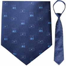 "Mens Woven Blue with Squares Pattern 21"" Zipper Tie"