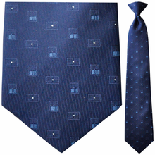 Mens Woven Blue w/ Squares Pattern Clip-On Tie