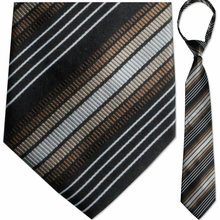 "Mens Woven Brown Stripe 21"" Zipper Tie"