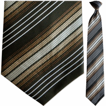 Mens Woven Brown Stripe Clip On Tie