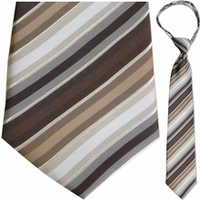 "Mens Woven Brown & White Stripe 21"" Zipper Tie"