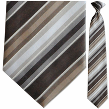 Mens Woven Brown + White Stripe Clip On Tie