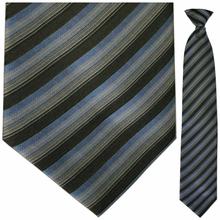 Mens Woven Grey, Black + Blue Stripe Clip On Tie