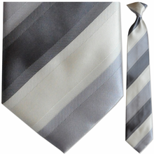 Mens Woven Grey Stripe Clip On Tie