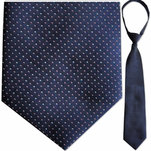 "Mens Woven Navy Spotted 21"" Zipper Tie"