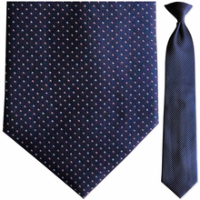 Mens Woven Navy Spotted Clip-On Tie