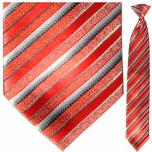 Men's Woven Red Multi Striped Clip-On Tie