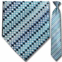 Men's Woven Blue Dot Striped Necktie
