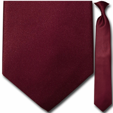 Men's Solid Burgundy Clip-On Tie