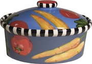 Black and White Vegetable Oval Casserole