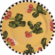 Black and White Vegetable/Radish Rimmed Dinner Plate