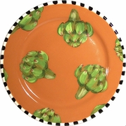 Black and White Vegetable Rimmed Dinner Plate/Artichoke