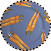 Black and White Vegetable Rimmed Dinner Plate/Carrot