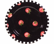 Black and White Vegetable/Tomato Rimmed Salad Plate