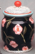 Black Flower Cookie Jar