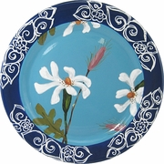 Daisy Blue Rimmed Dinner Plate