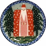 Father Christmas/Blue Unrimmed Dinner Plate