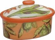 Lime/Flower Medium Oval Casserole