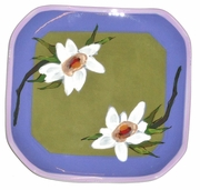 Lotus Square Dessert Plate/Green