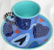 True Blue Valentine Tea And Biscuit Plate Set
