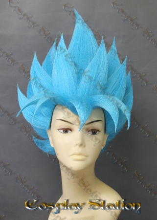 Super Saiyan God Goku Blue Custom Made Cosplay Wig