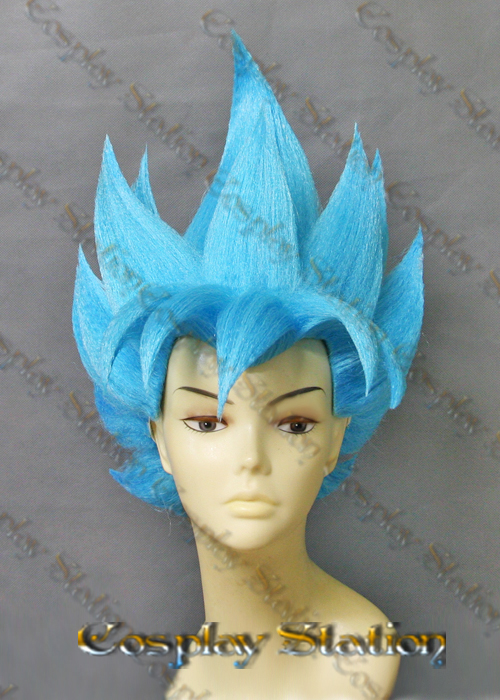 Super Saiyan Goku Blue Custom Made Cosplay Wig c908de1812d3