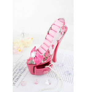 Bella Rosa Shoe Ring Holder With Drawer Pink