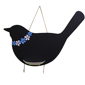 Bird Chalkboard with Key Hooks and Chalk Holder