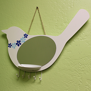 Bird Wall Mirror with Tray & Hooks