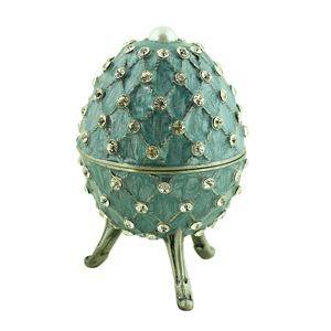 Blue Egg Trinket Box with Pearl and Crystals
