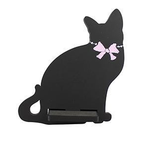 Cat Cell Phone Holder Wood Stand Black