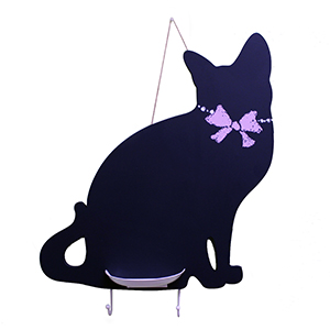 Cat Chalkboard with Key Hooks and Chalk Holder
