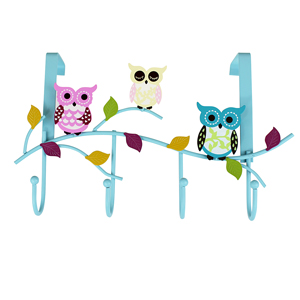 Colorful Owls Door Hook Blue