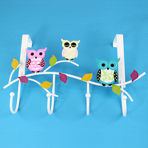 Colorful Owls Door Hook White