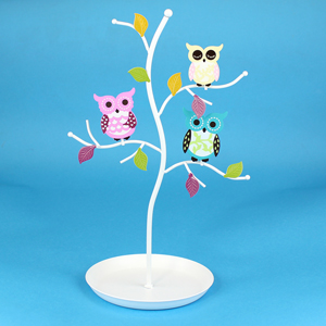 Colorful Owls jewelry Stand with Circular Tray White