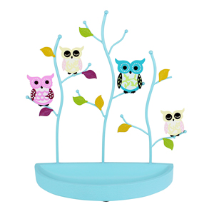 Colorful Owls Jewelry Stand with Crescent Tray Blue