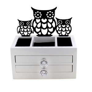 Cut Out Owl Jewelry and Keepsake Organizer Box