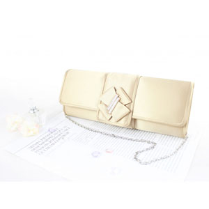 Edgy and Elegant Evening Purse Ivory