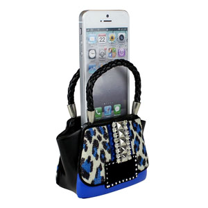 Leopard Purse Phone Amplifier Blue