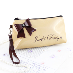 Mademoiselle Cosmetic Bag with Wristlet Beige