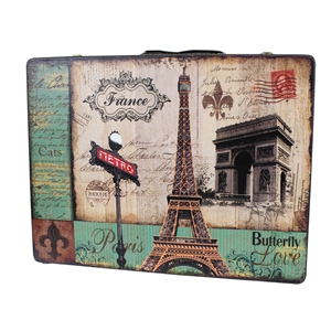 Paris Eiffel Tower Decorative Wooden Storage Box Suitcases 3 Piece Set