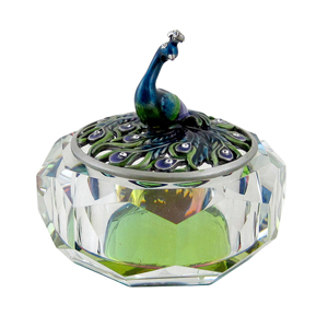 Peacock Atop Crystal Jewelry Box Clear