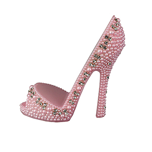 Pearl Crystal Shoe Cell Phone Holder Pink