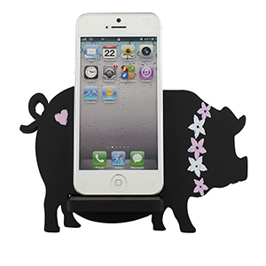 Pig Cell Phone Holder Wood Stand Black