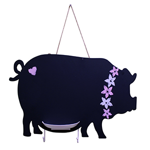 Pig Chalkboard with Key Hooks and Chalk Holder