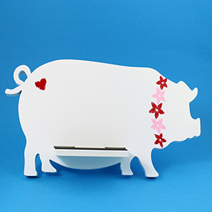 Pig Tablet / iPad Holder Wood Stand White