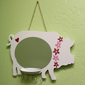 Pig Wall Mirror with Tray & Hooks